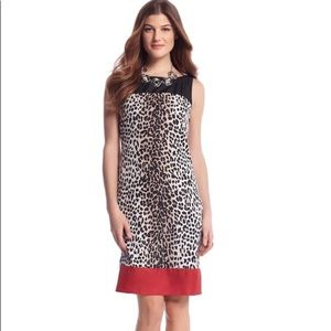 White House Black Market Leopard Red shift dress